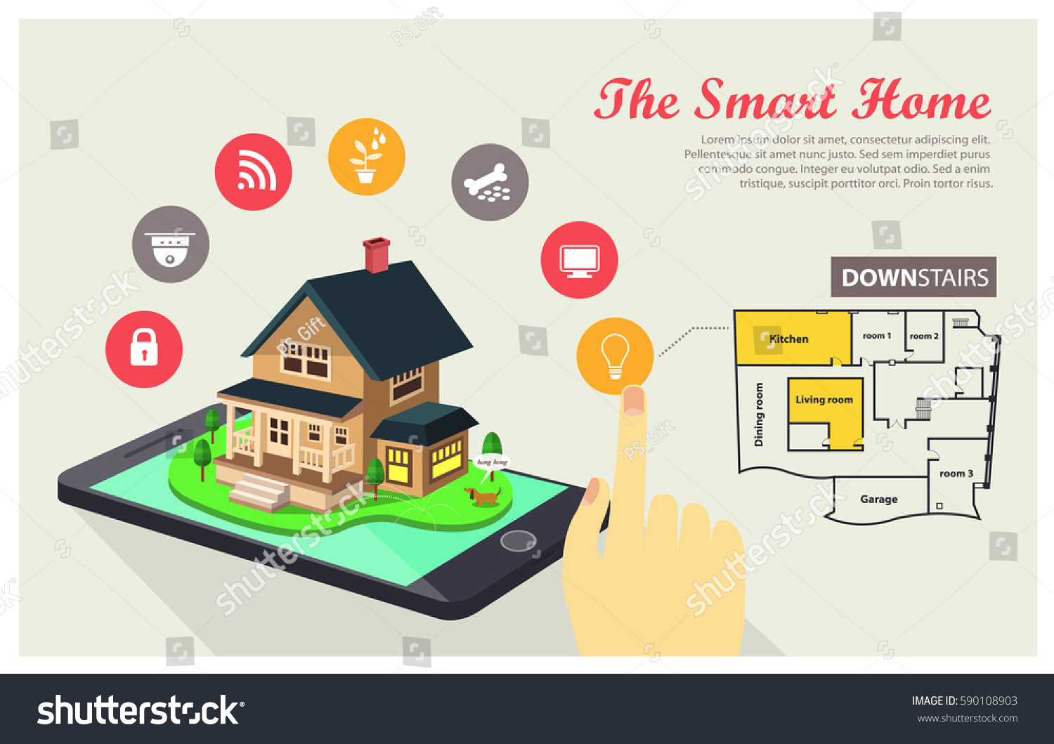 Smart Home Internet Things Data Technology Stock Vector 590108903