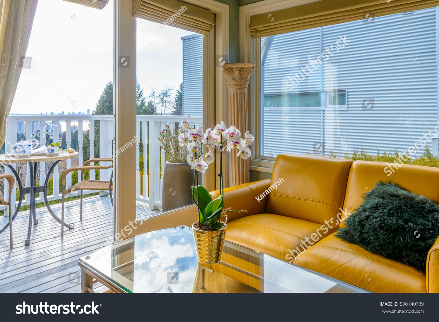 Interior design luxury living room balcony stock photo for Luxury balcony design