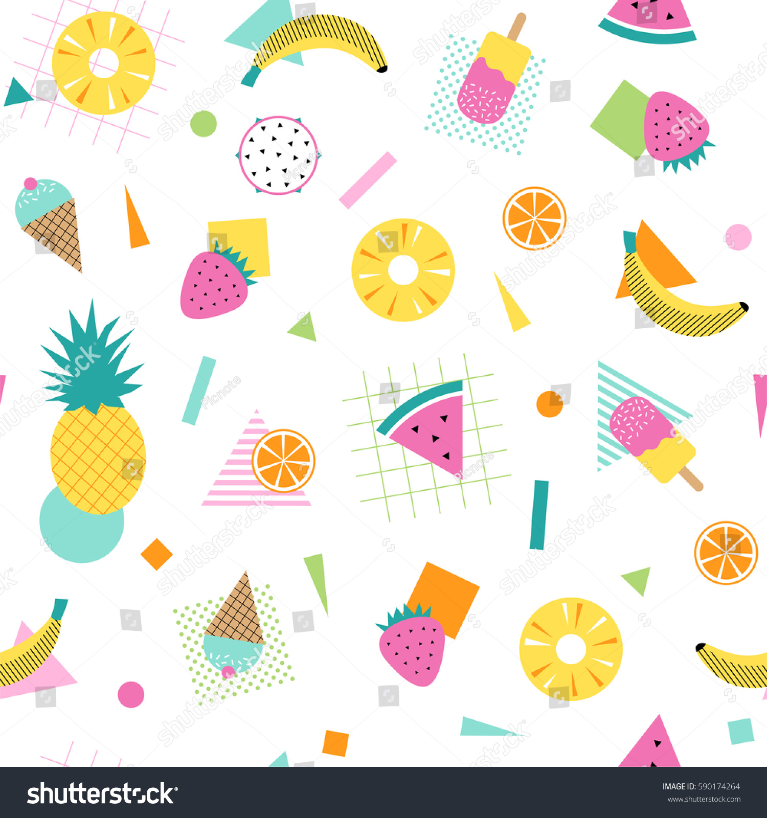 Pattern Cute Colorful Ice Cream Textiles Stock Vector: Colorful Summer Pattern Fruits Ice Cream Stock Vector