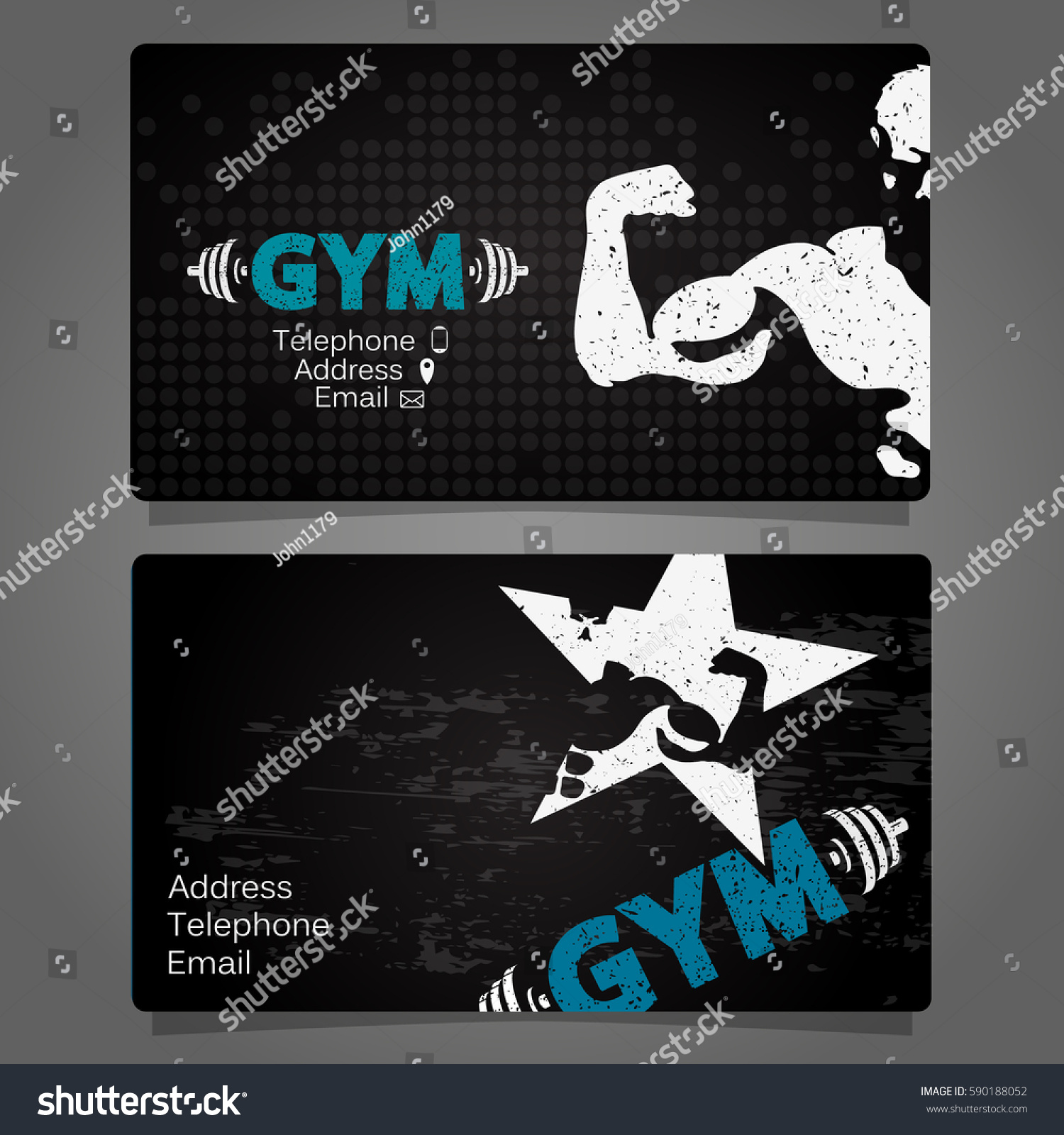 Business Card Gym Fitness Concept Stock Vector