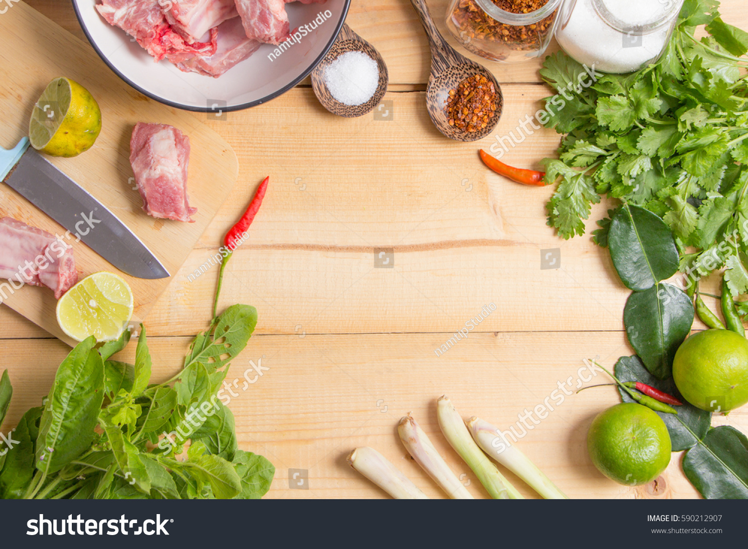 Spices ingredients on wood background copy stock photo for Asian cuisine ingredients