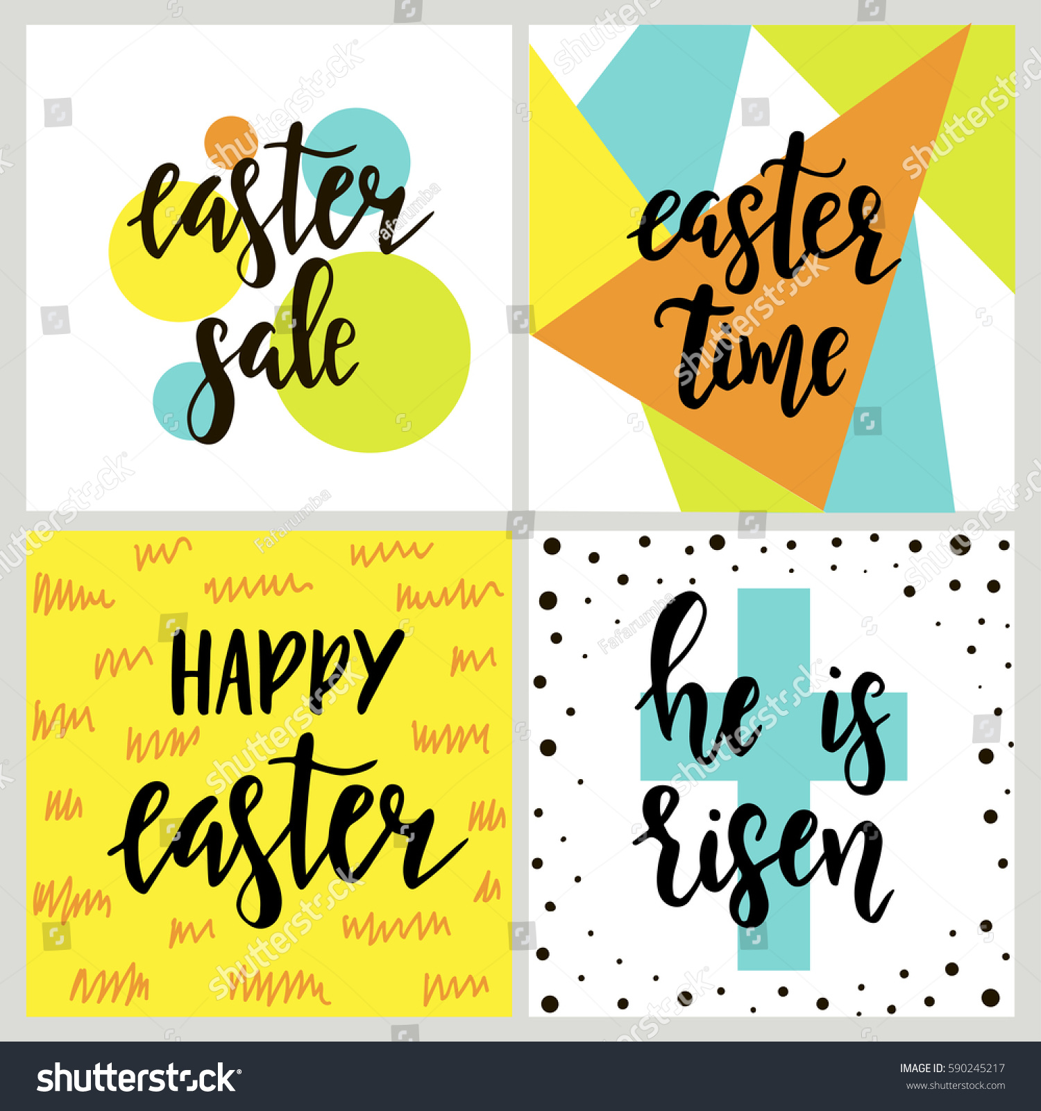 Set happy easter gift cards calligraphy stock vector 590245217 set with happy easter gift cards with calligraphy handwritten lettering hand drawn design elements negle Choice Image
