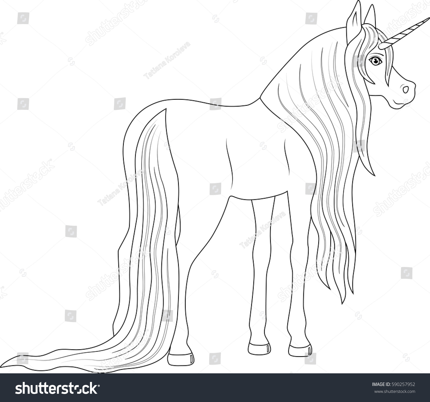 fabulous cute unicorn coloring page stock vector 590257952