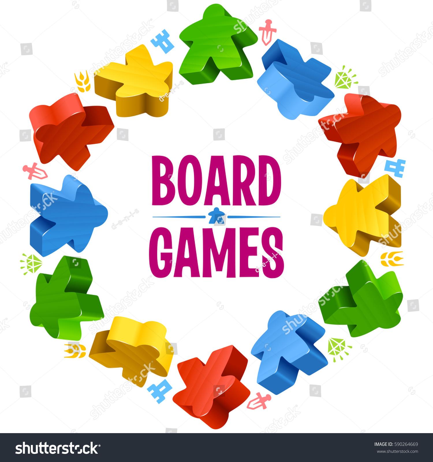Hex Frame Multicolor Meeples Board Games Stock Vector Royalty Free