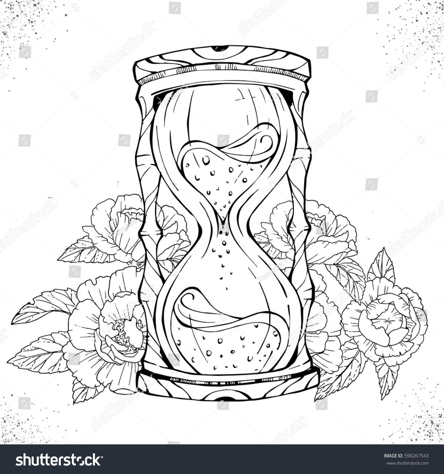 hand drawn romantic drawing hourglass tattoo stock vector