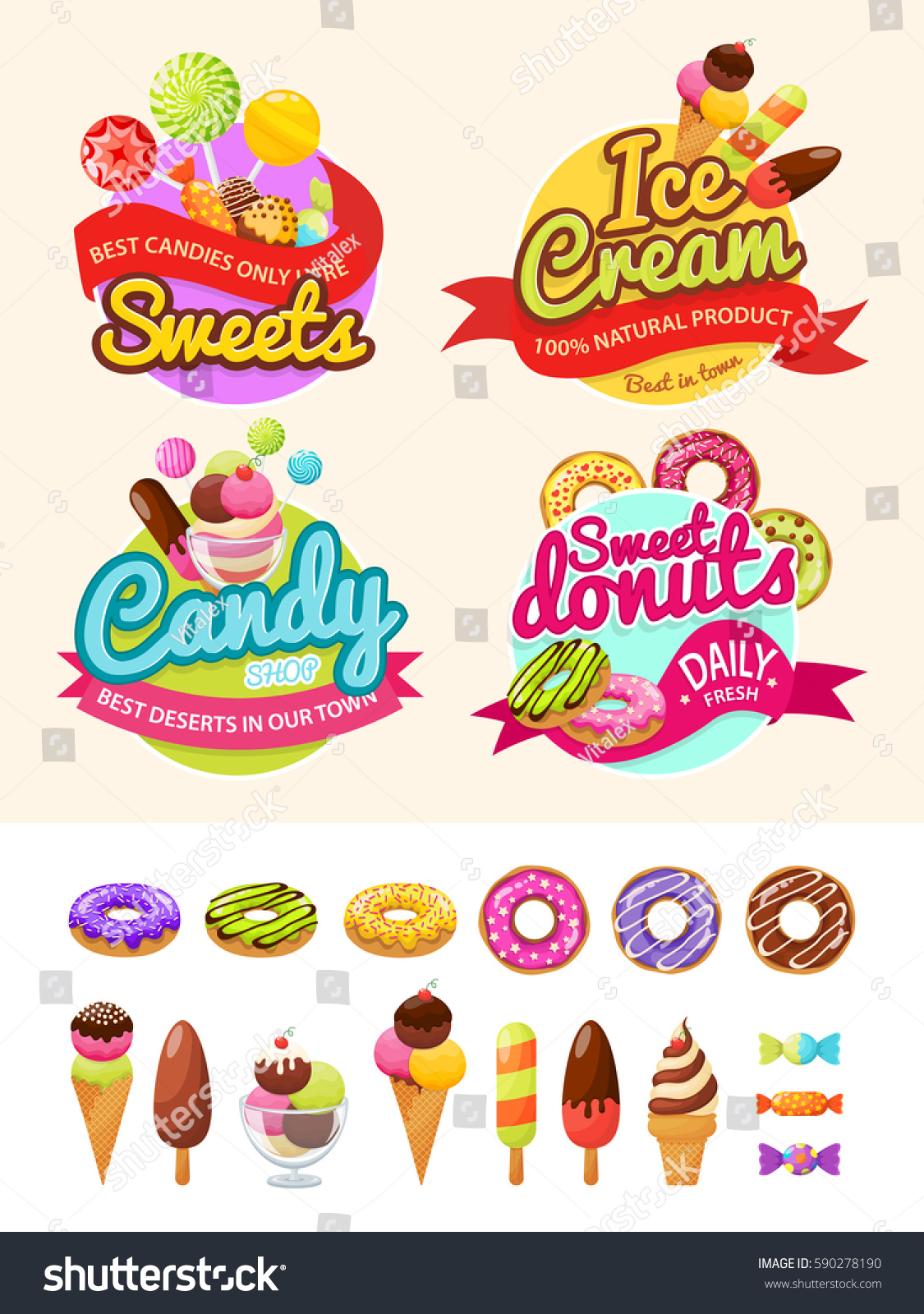 food labels donuts ice cream candy stock vector (royalty free