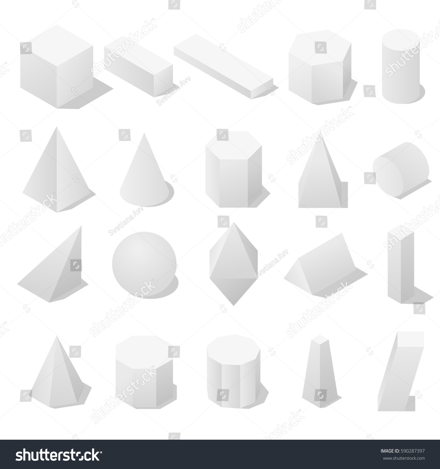 Basic 3d Geometric Shapes Shadow Isometric Stock Vector