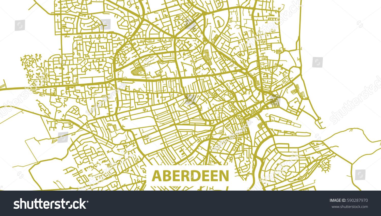 Detailed Vector Map Aberdeen Gold Title Stock Vector 590287970