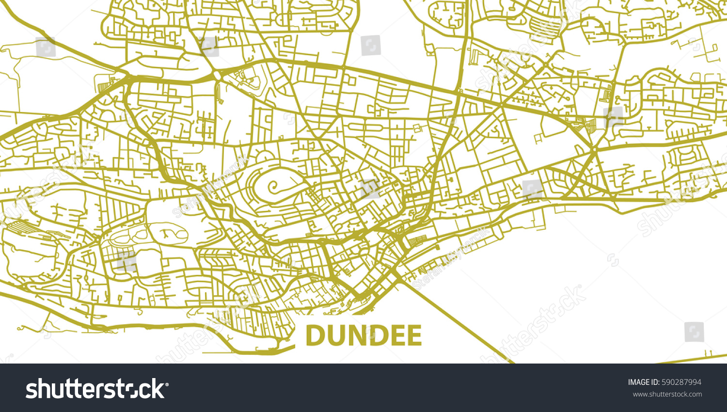 detailed vector map dundee based on stock vector 590287994