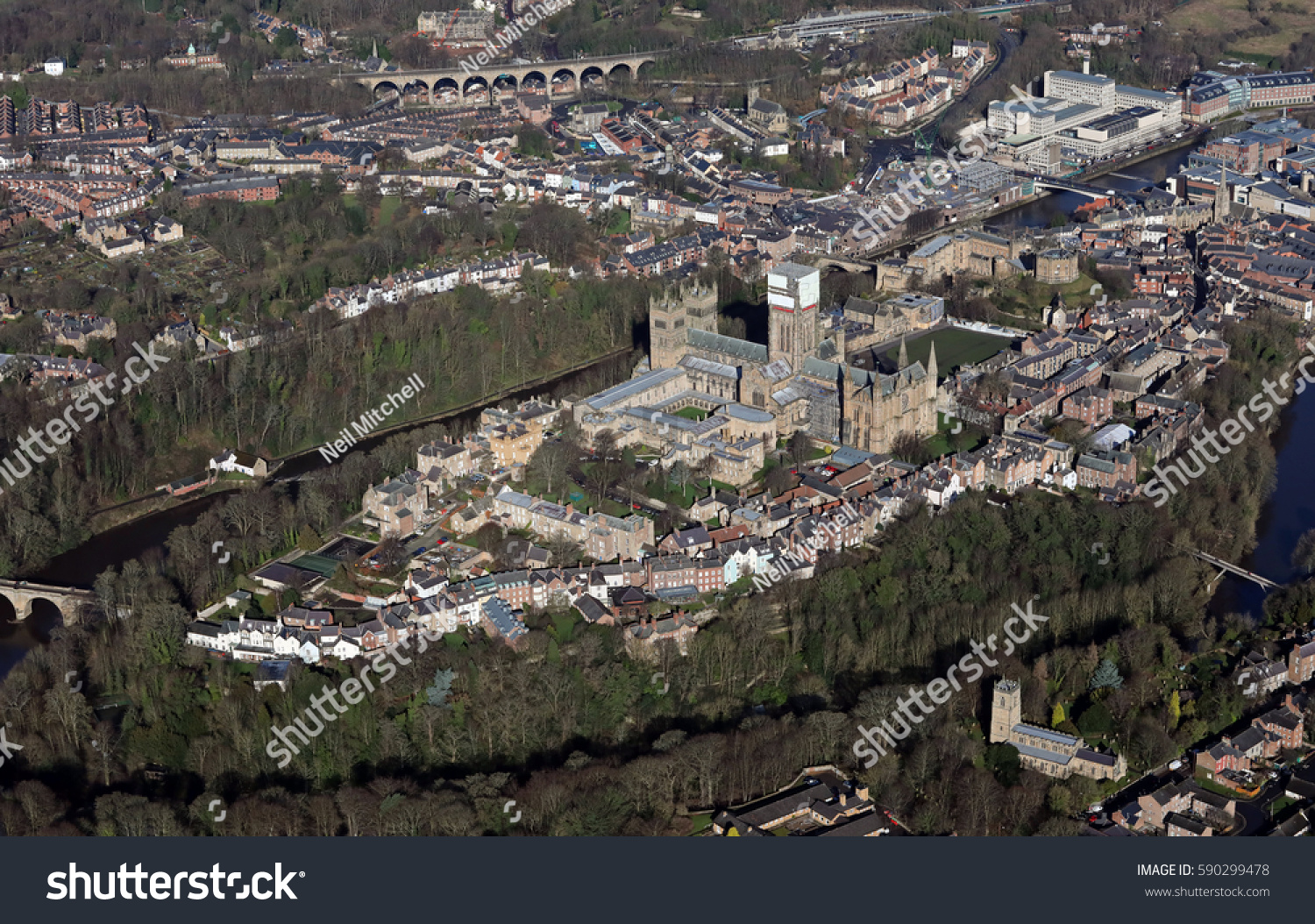 Aerial View Durham City Centre Including Stock Photo Edit Now
