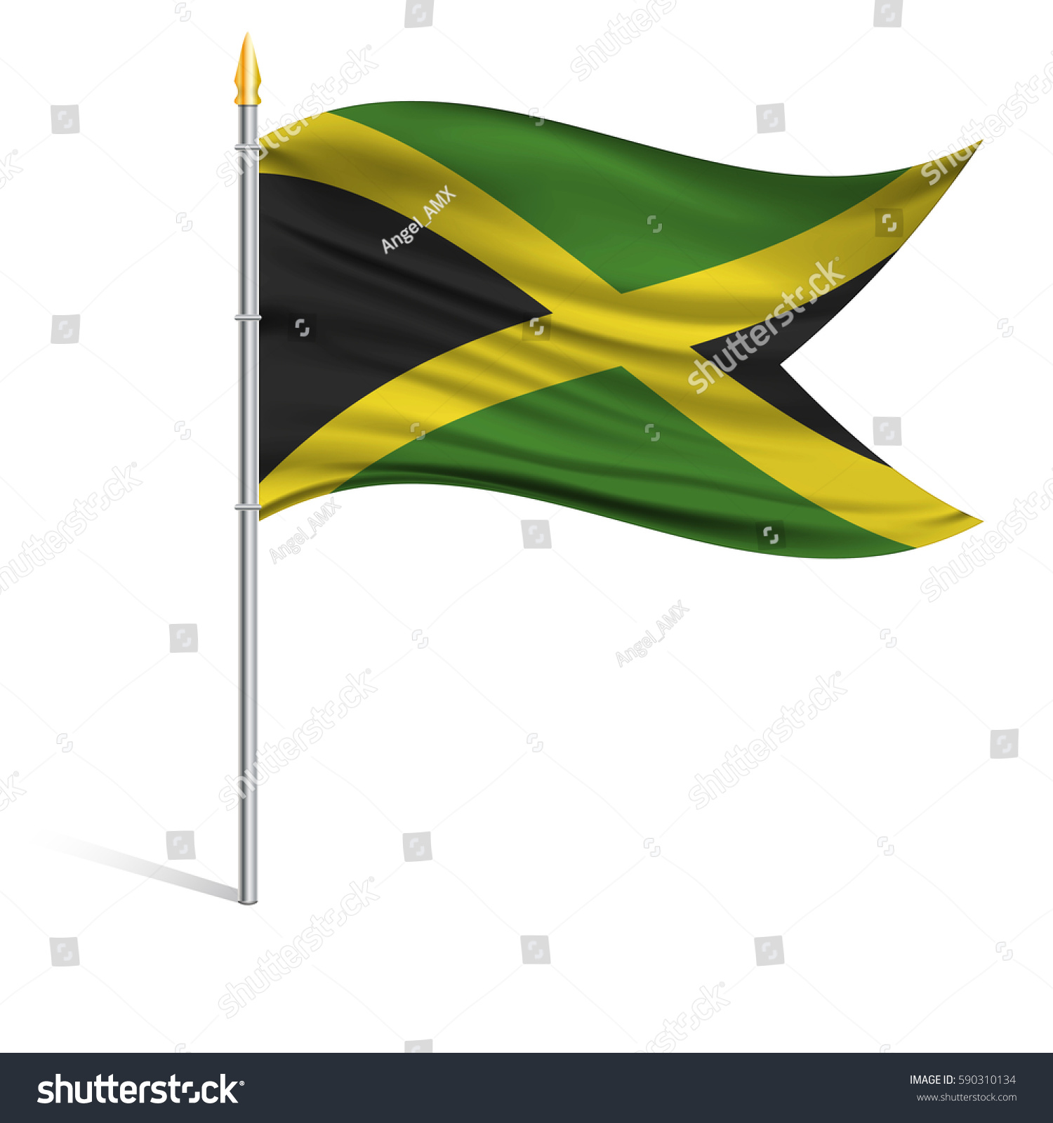 The National Flag Of Jamaica On A Pole The Wavy Fabric The Sign