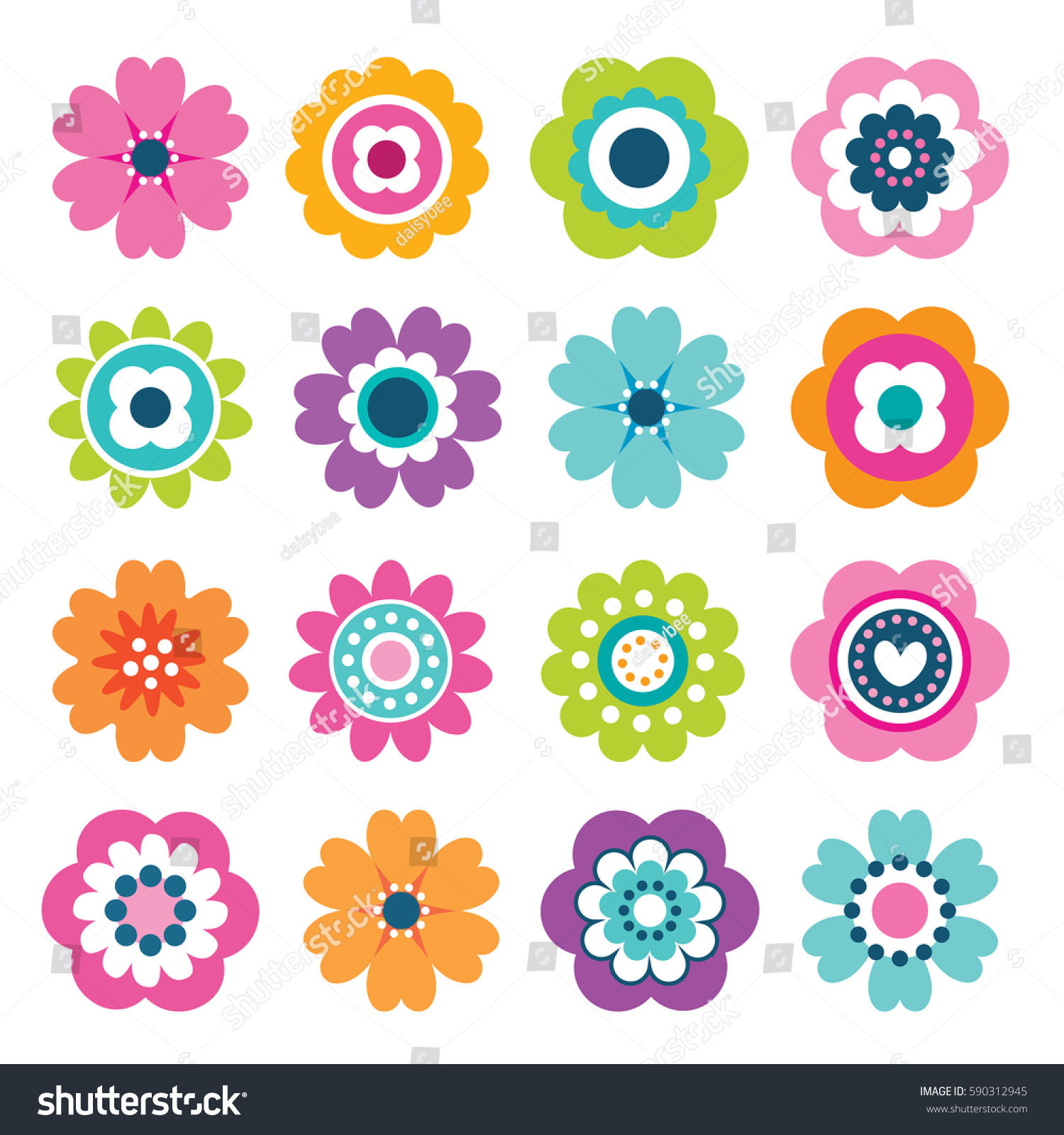 Set of flat Spring flower icons in silhouette isolated on white. Cute retro illustrations in bright colors for stickers, labels, tags, scrapbooking. #590312945