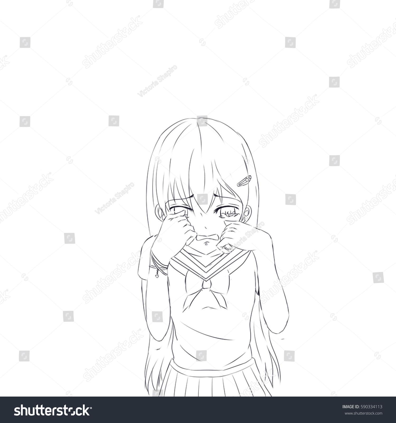 Royalty Free Stock Illustration Of Crying Anime School Girl Sad