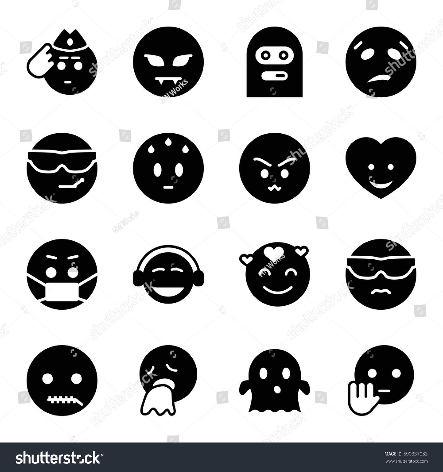 Emoji Icons Set Set 16 Emoji Stock Vector 590337083 ...