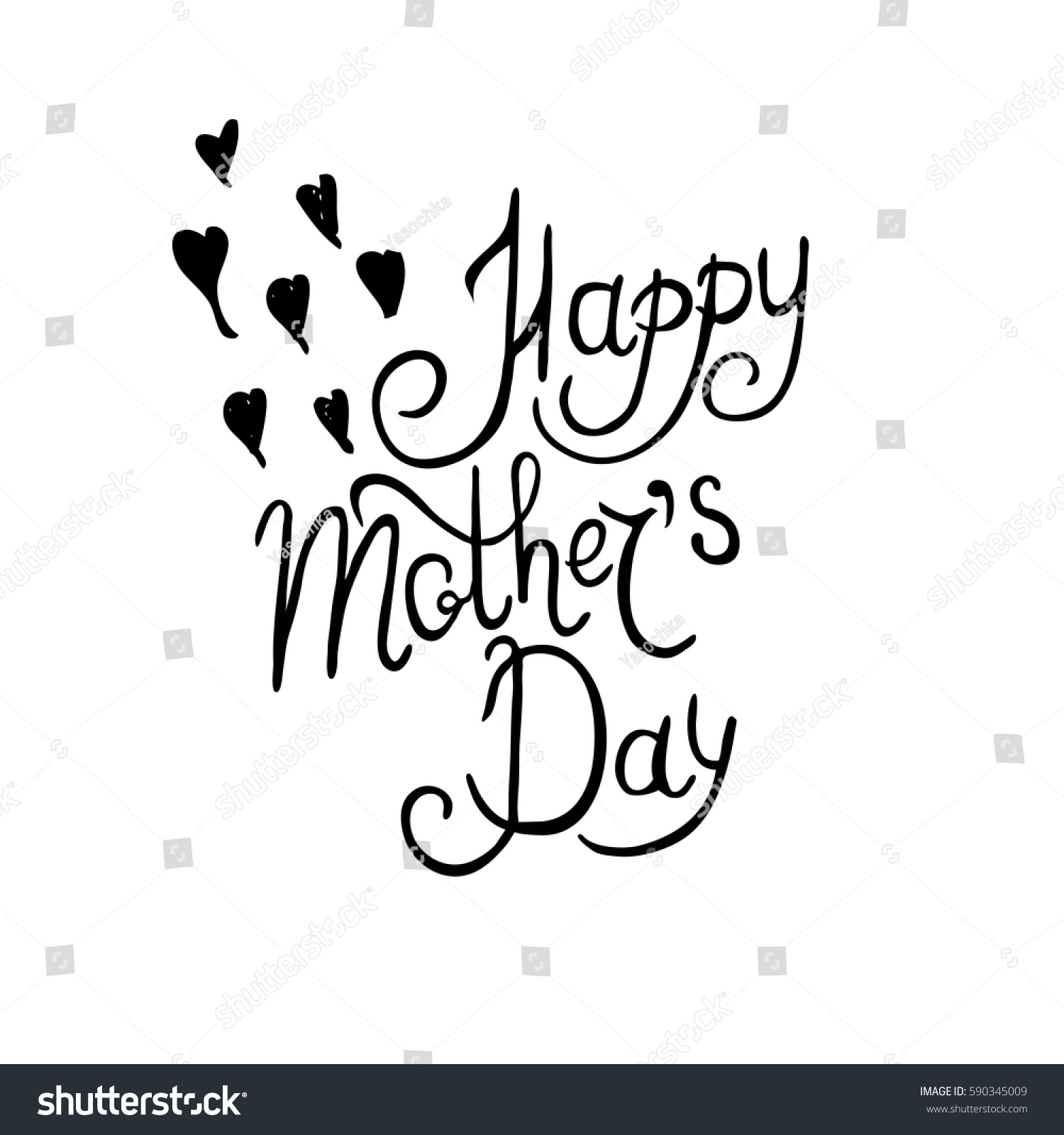 Hand Written Inscription Happy Mothers Day Stock Vector