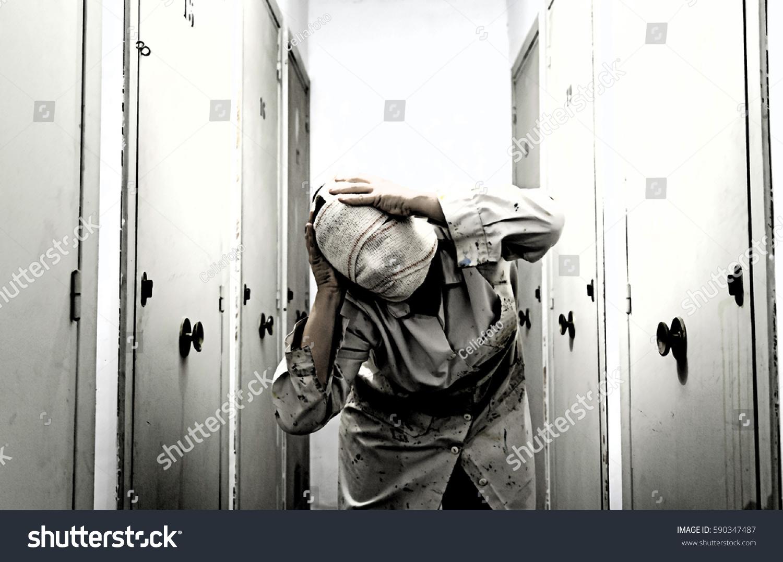 Woman Bandaged Storage White Coat Fear Stock Photo 590347487 ...
