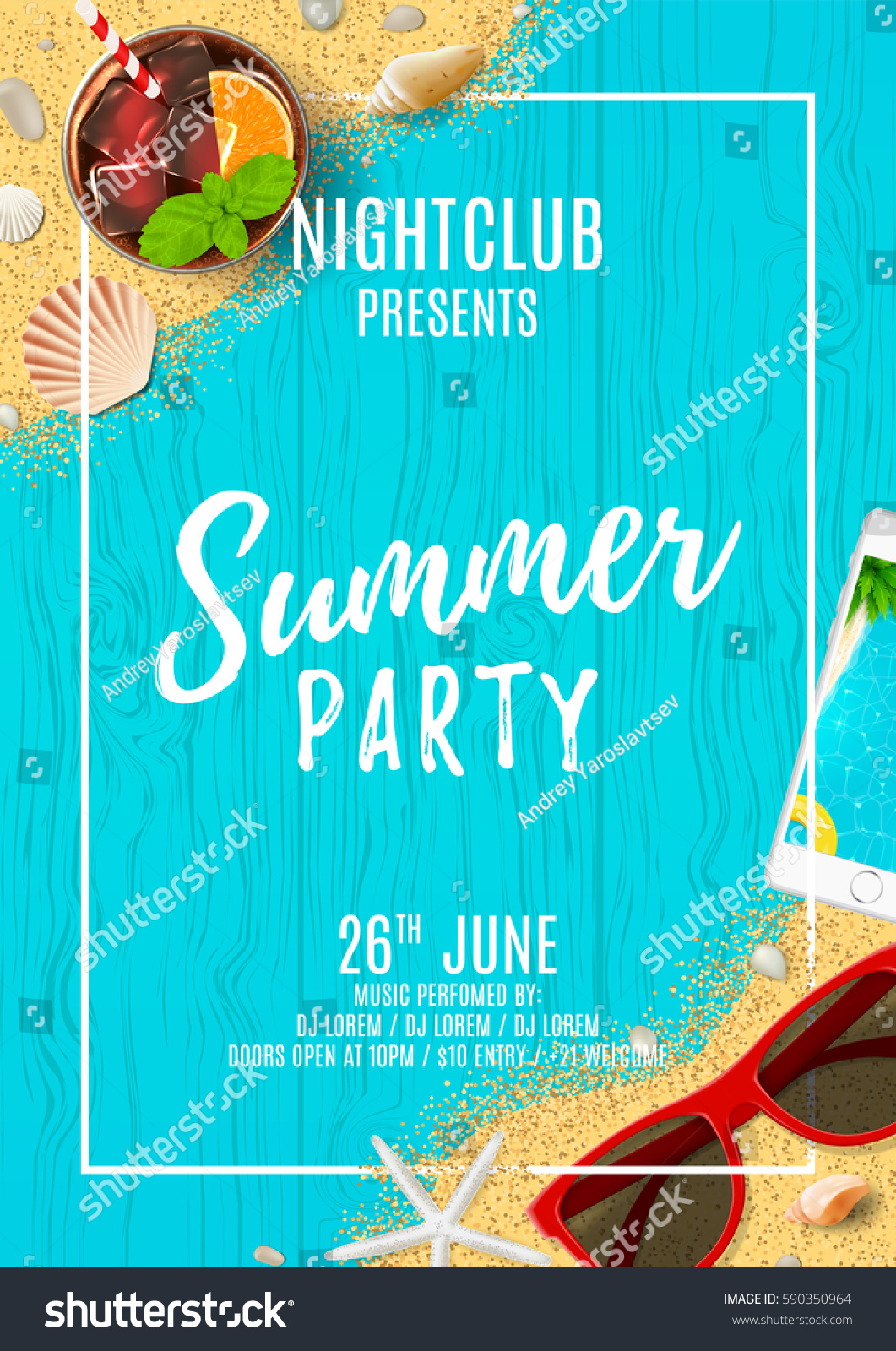 Beautiful flyer summer party top view image vectorielle for Cocktail 40 ans