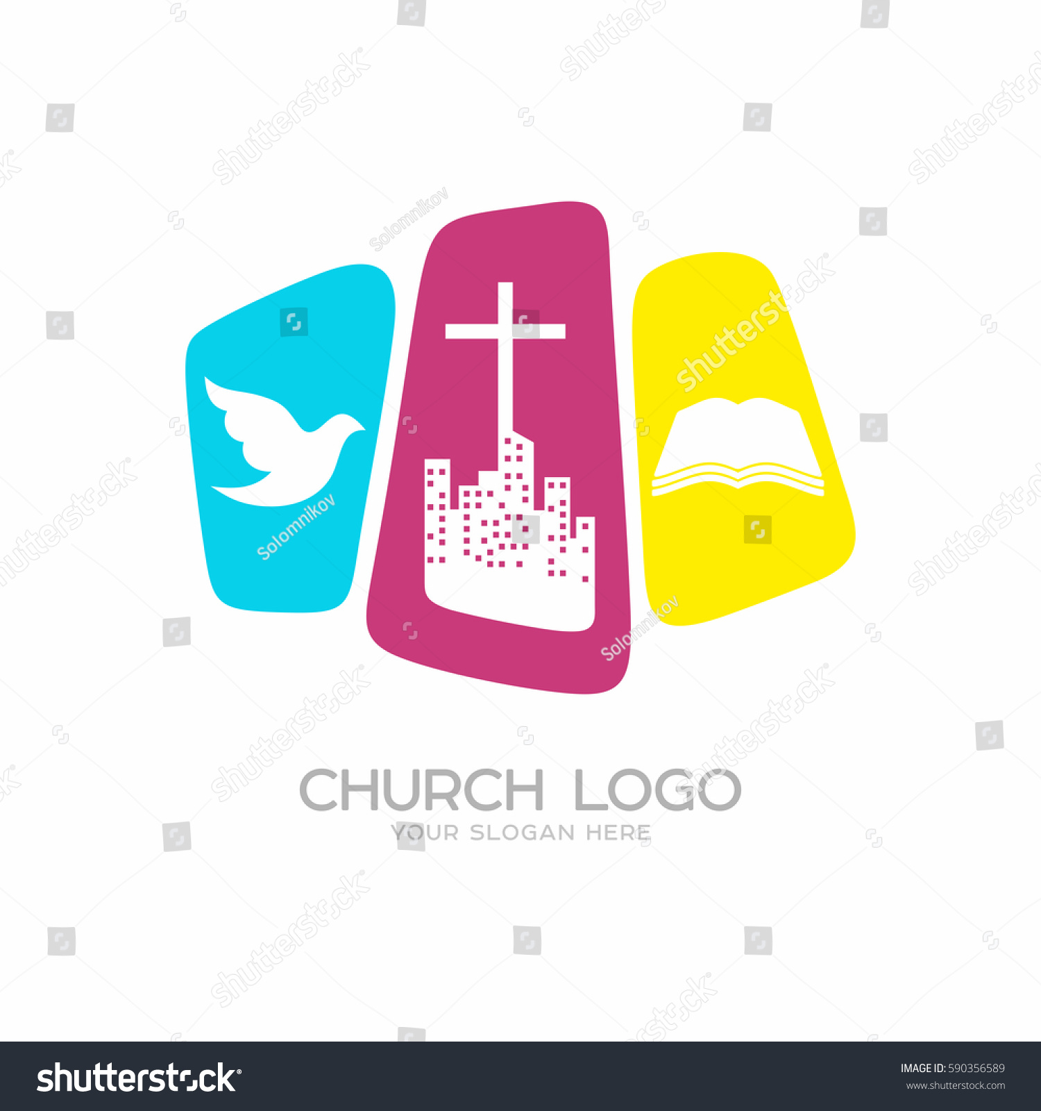 Church Logo Christian Symbols City Cross Stock Vector (Royalty Free ...