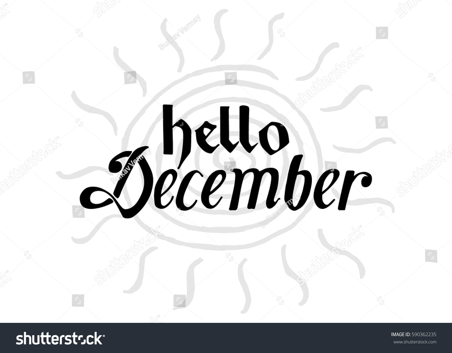 Hello December. Hand Lettered Greeting. Modern Calligraphy. Beautiful Gift  For Cards And Prints