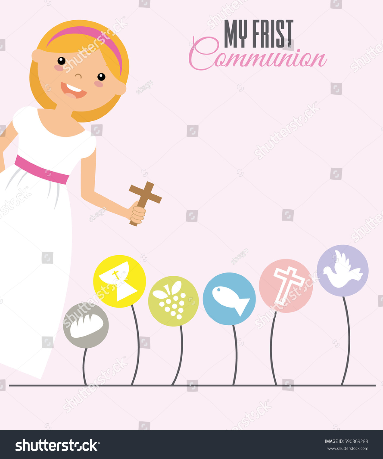 Uncategorized Girlspace my first communion girl space text stock vector 590369288 for text