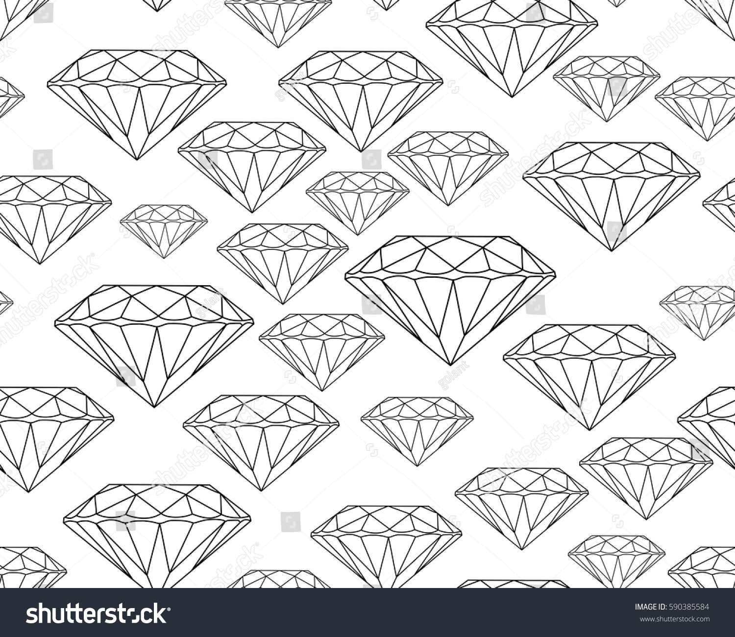 Black Silhouettes Faceted Vector Gems On White Background Seamless Jewelry Pattern Wallpaper Gem Jewel