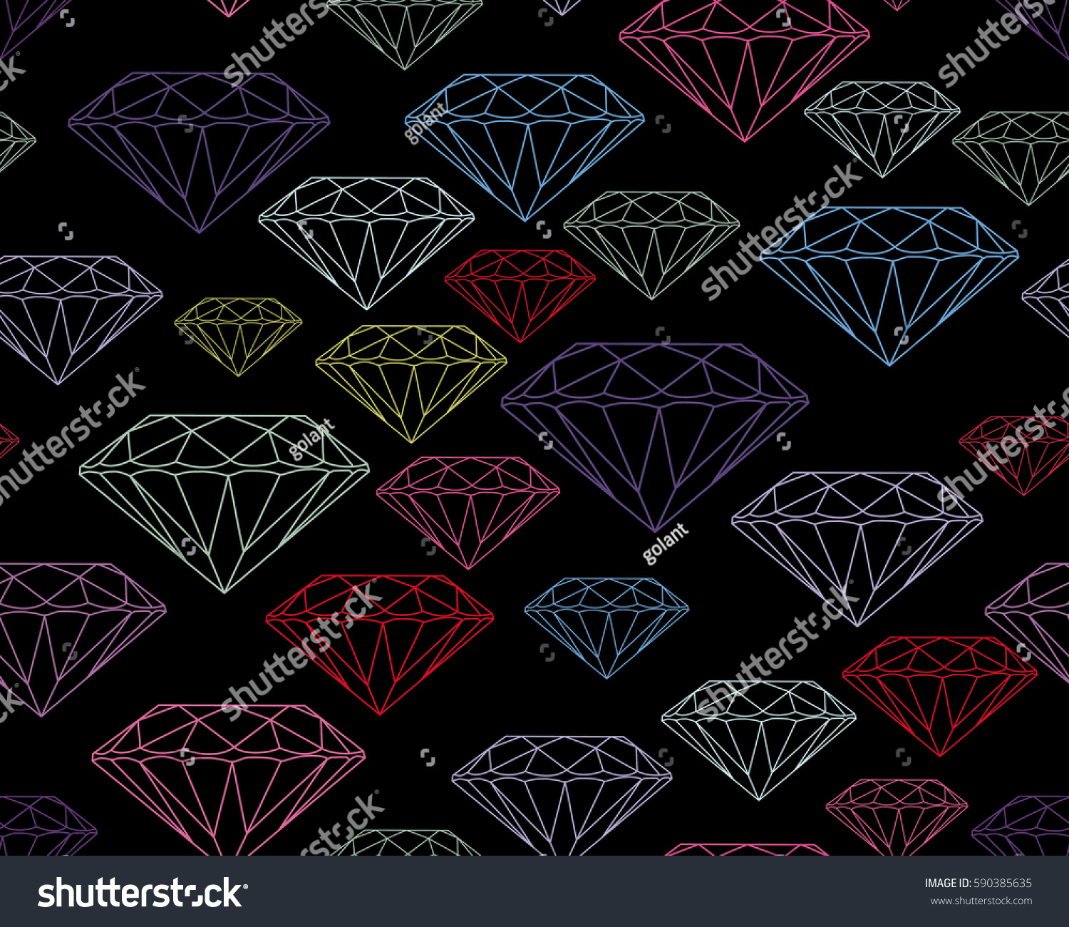Multicolored Silhouettes Faceted Gems On Black Background Seamless Jewelry Pattern Wallpaper Gem Jewel