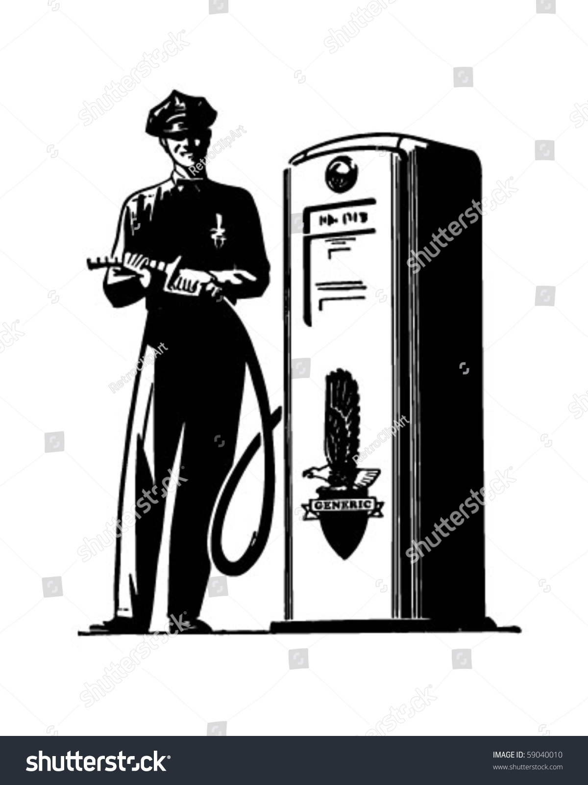 Gas Pump Attendant Retro Clip Art Stock Vector 59040010 - Shutterstock
