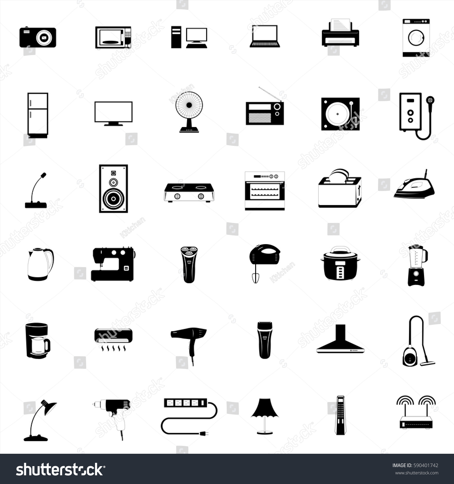 Set Fine Electrical Appliances Icons Stock Vector 590401742