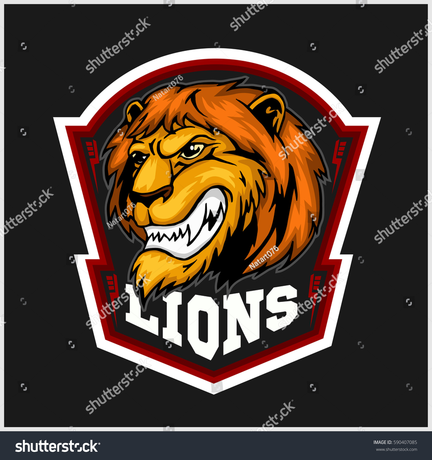 mascot lions sport team logo template stock vector royalty free