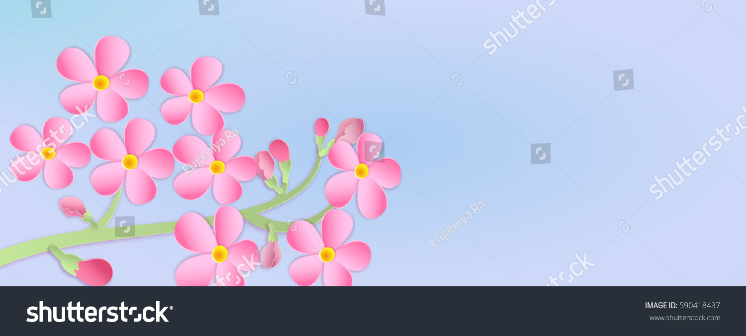 Banner Branch Cherry Blossoms Paper Cut Stock Vector Royalty Free