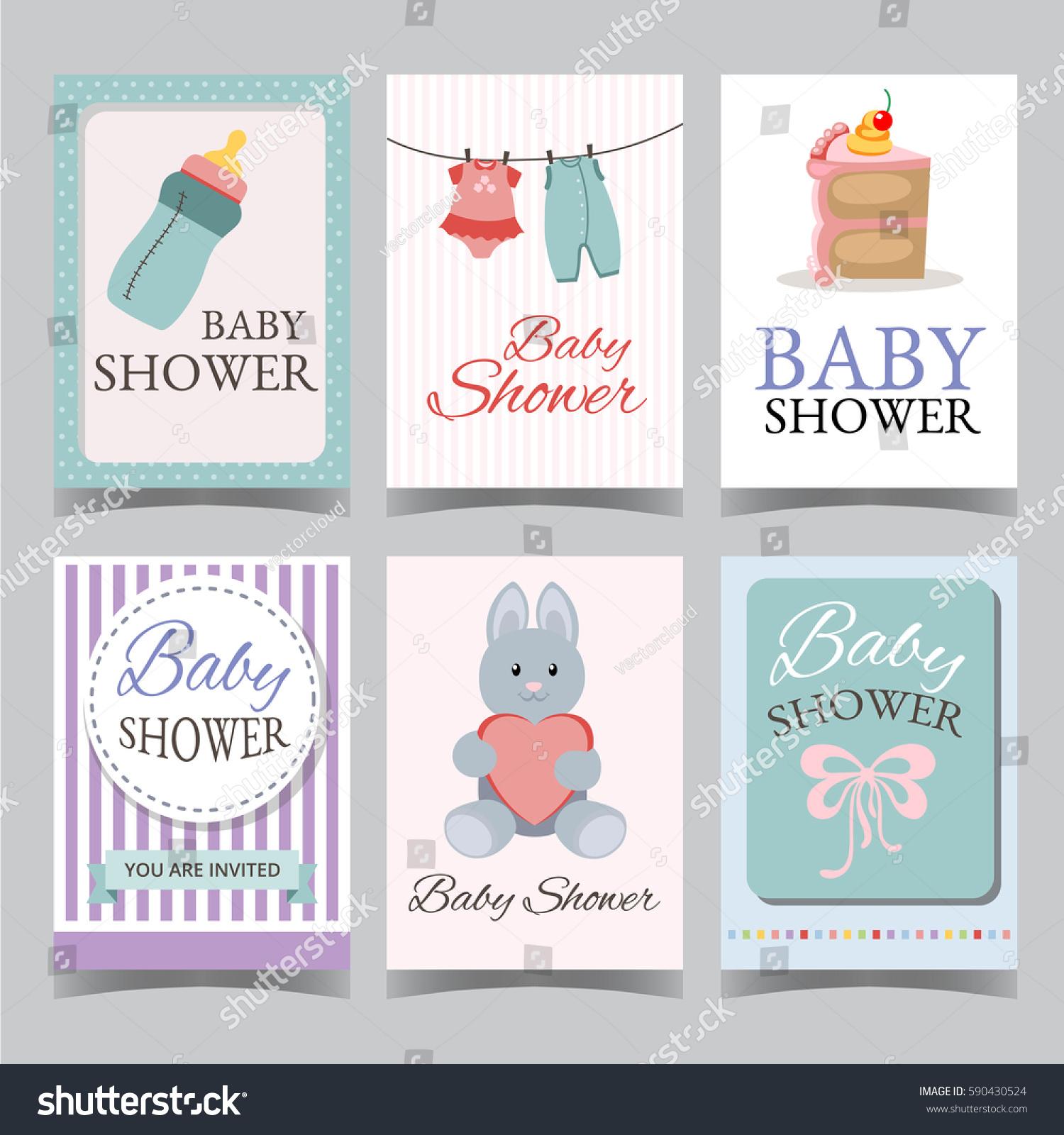 Baby Shower Card Set Boy Girl Stock Vector Shutterstock