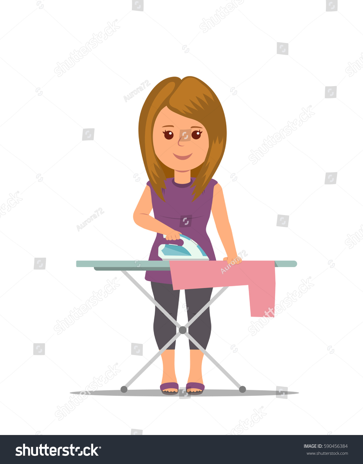 Cartoon Clothes Iron ~ Cartoon woman housewife ironing clothes on stock vector