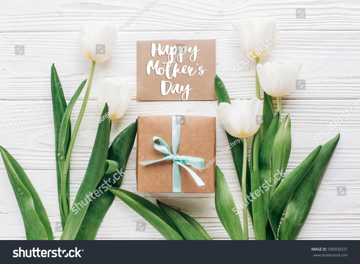 Happy mothers day text sign on stock photo 590458337 shutterstock happy mothers day text sign on greeting card with stylish present box and tulips on white kristyandbryce Choice Image