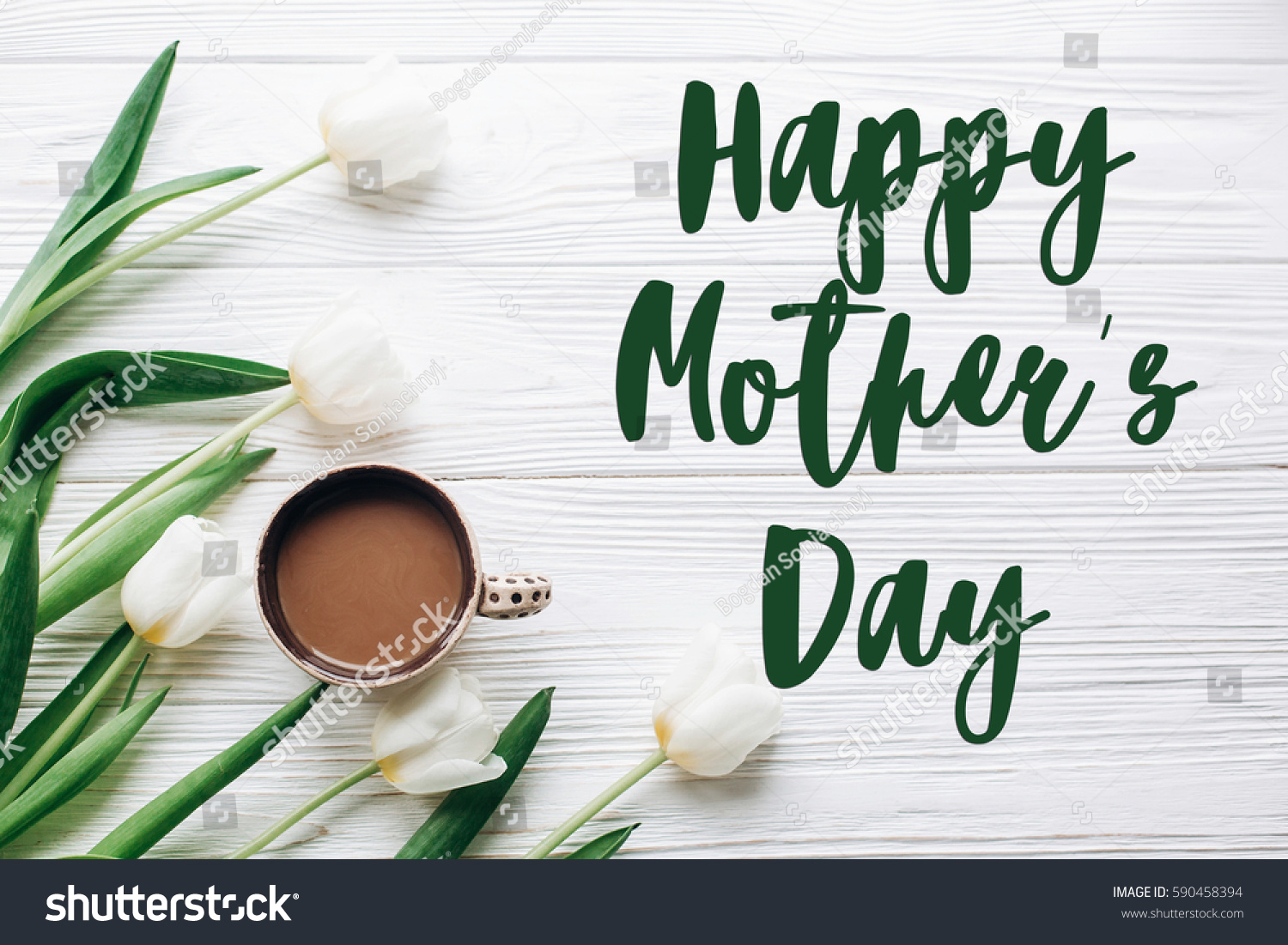 Happy mothers day text sign on stock photo 590458394 shutterstock happy mothers day text sign on tulips and coffee on white wooden rustic background stylish kristyandbryce Choice Image