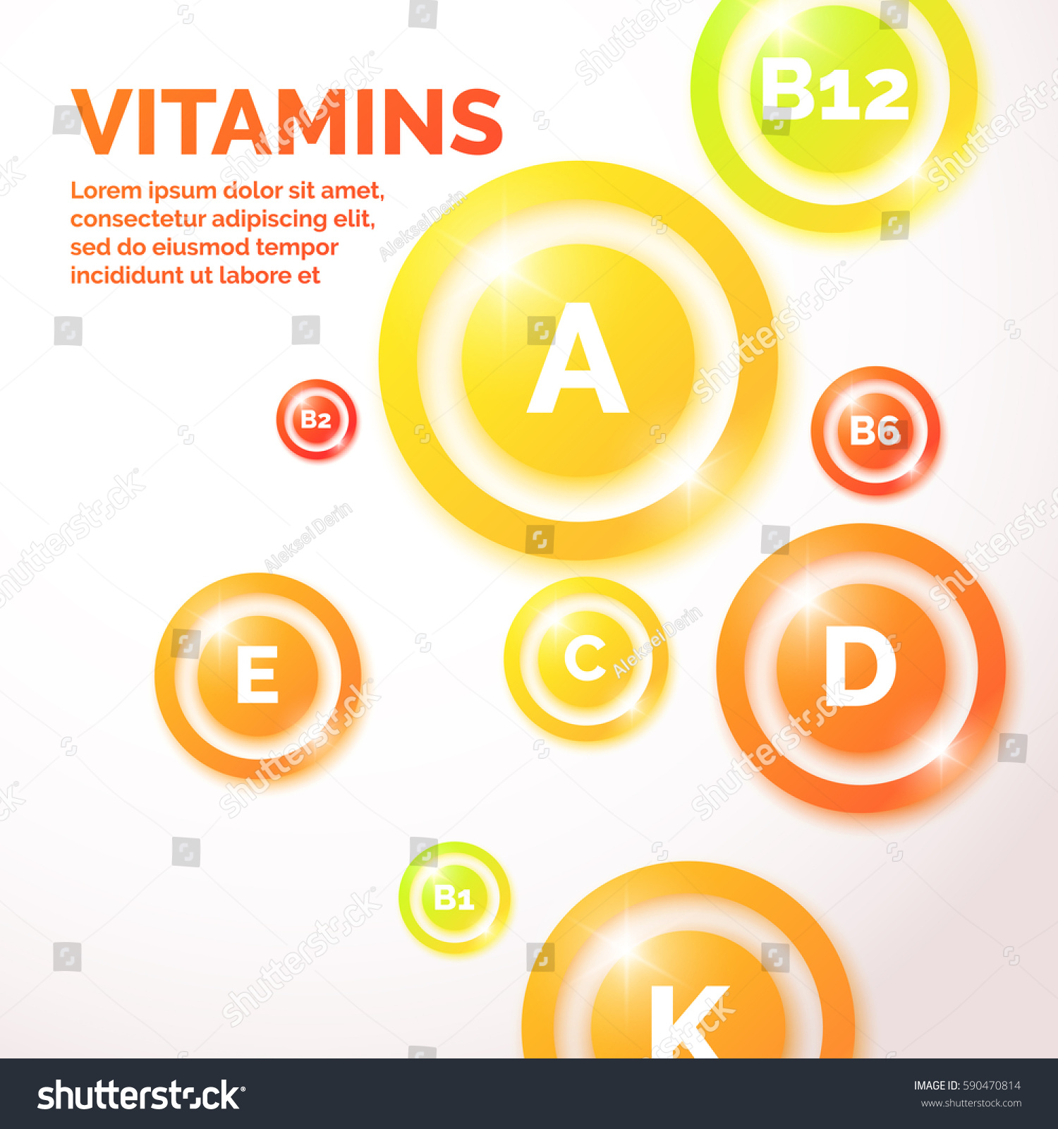 Proper Nutrition Health Care Background Vitamins Stock Vector