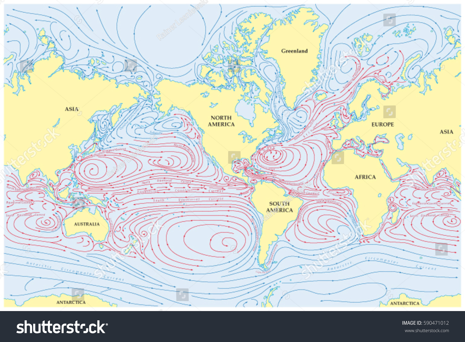 Vector world map all sea currents stock vector 590471012 shutterstock vector world map of all sea currents gumiabroncs Gallery