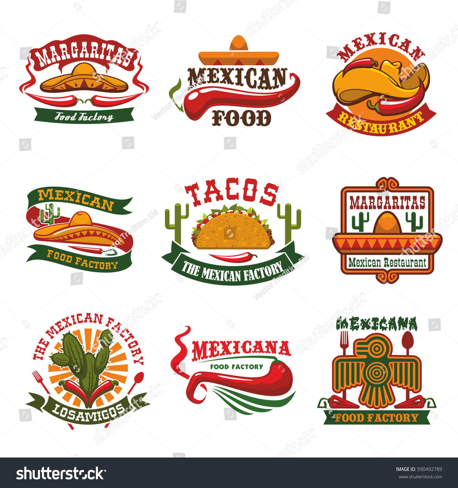 Mexican Cuisine Restaurant Fast Food Cafe Stock Vector Royalty Free