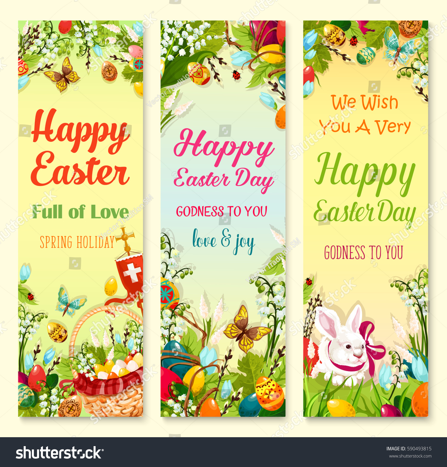 Easter Day Greetings Banner Set Easter Stock Vector 590493815