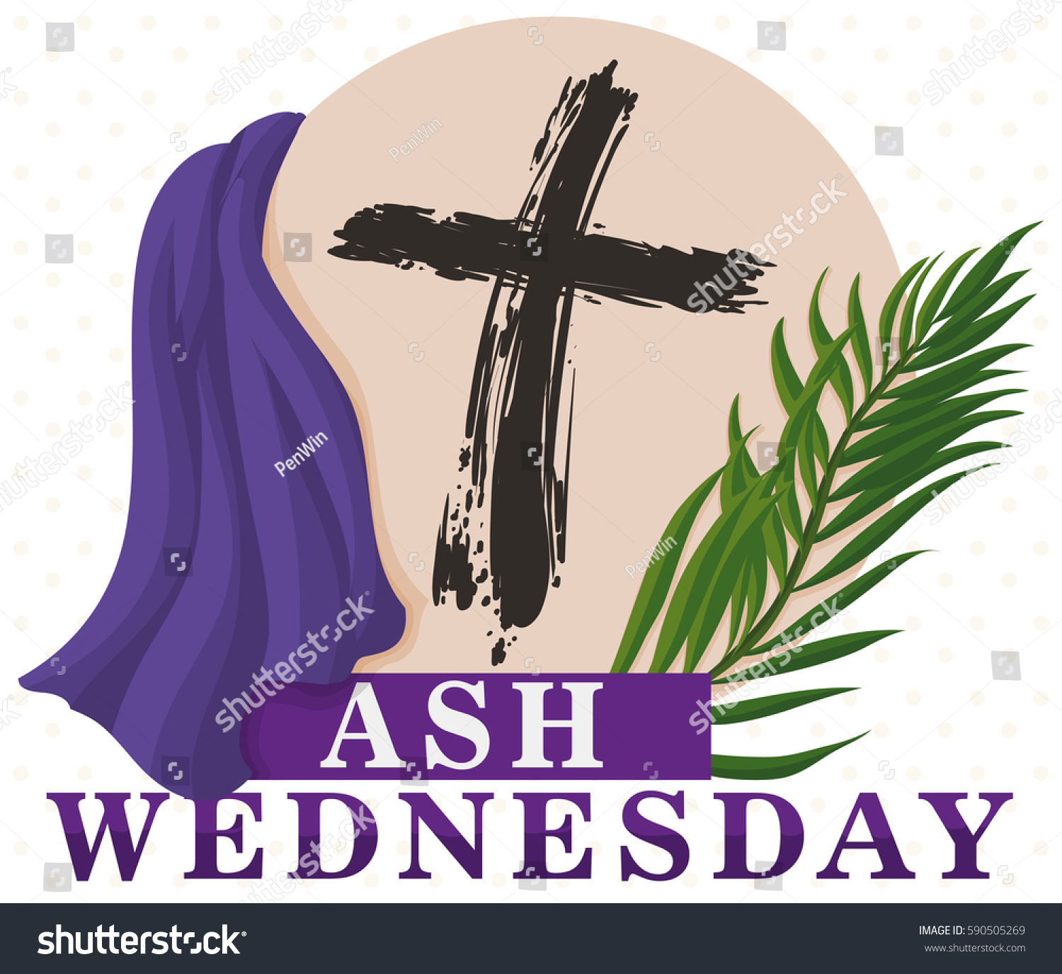 Poster traditional representative elements lent beginning stock poster with traditional representative elements for lent beginning in ash wednesday cross from palm branches buycottarizona