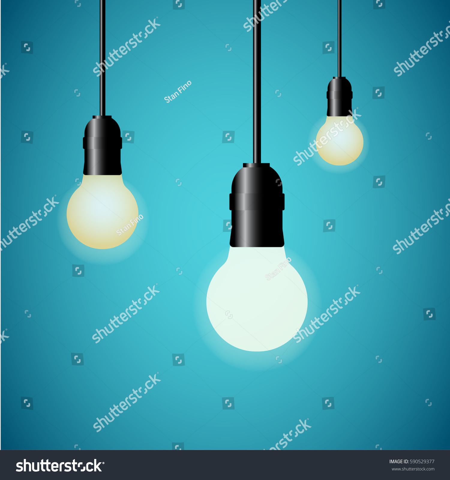 Hanging Light Bulbs Glowing Blue Stock Vector