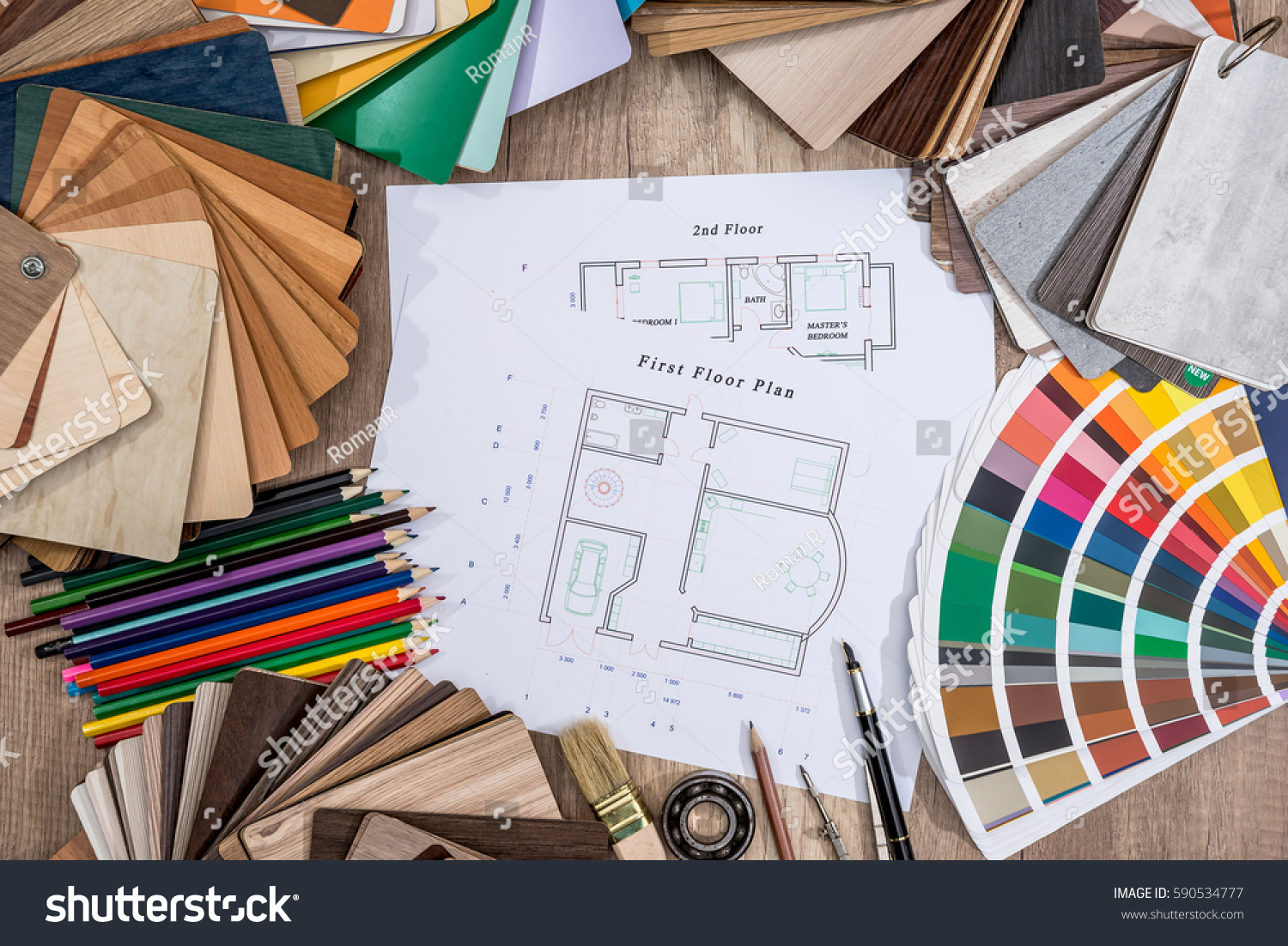 Drawing Plan House With A Palette Of Colors Pencil Brush On Wooden  Background
