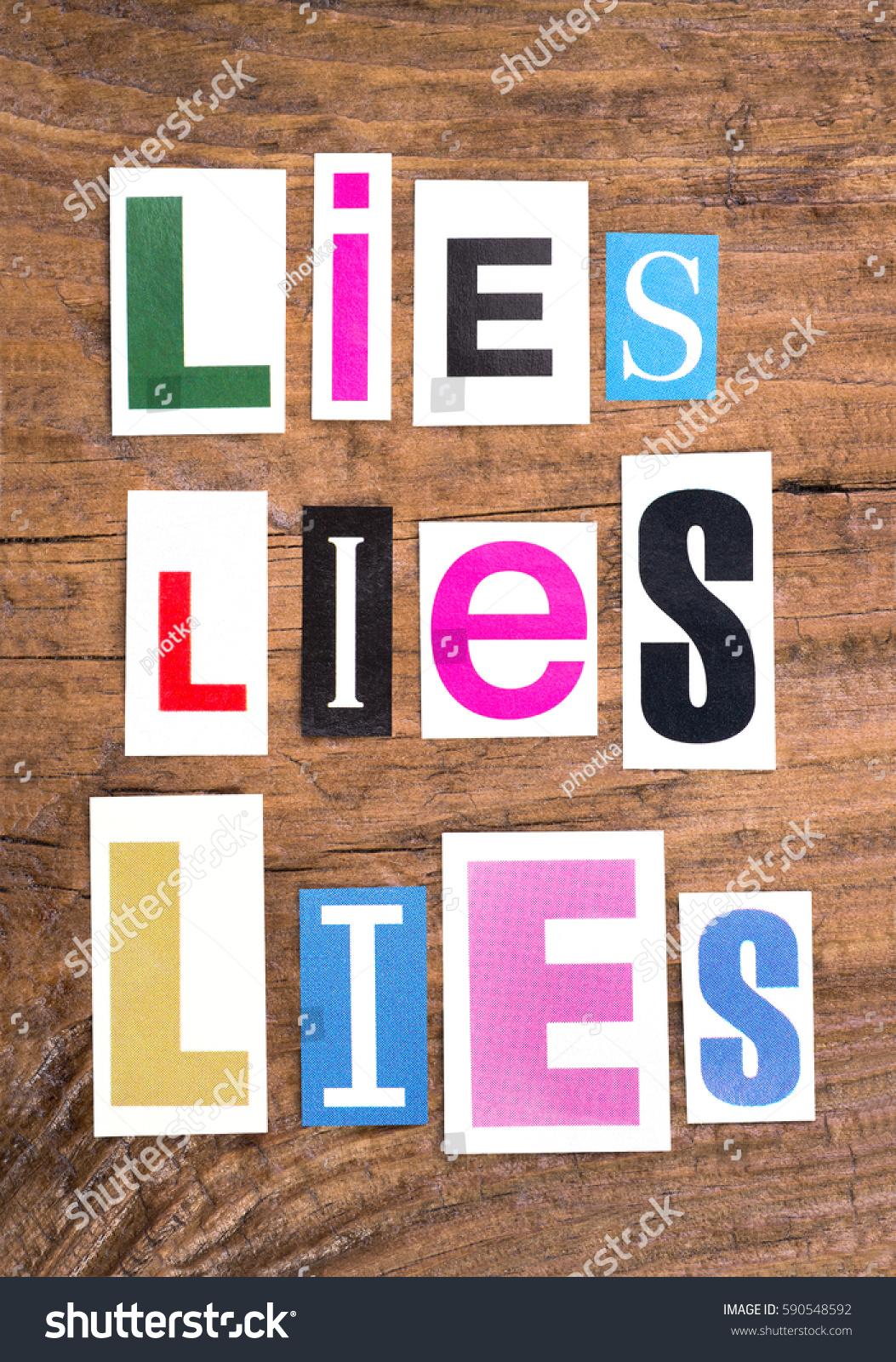 Words Lies Lies Lies Cut Out Stock Shutterstock