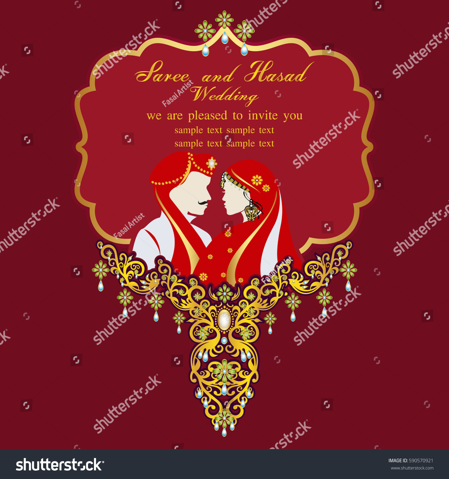 Indian Wedding Invitation Card Abstract Background Stock Vector Royalty Free 590570921