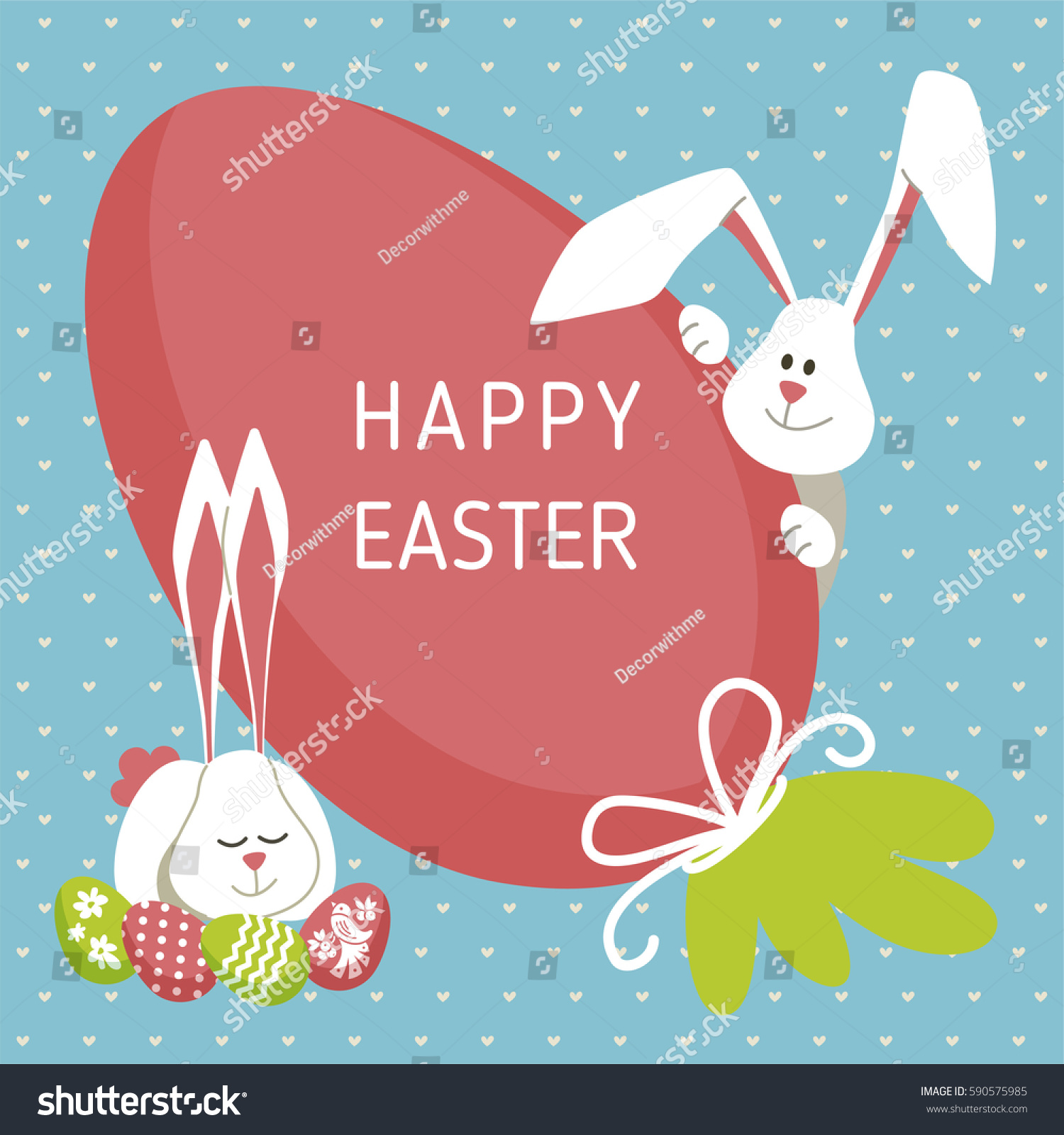 Happy easter modern vector template card stock vector 590575985 happy easter modern vector template card a holiday gift flyer with rabbit egg negle Images