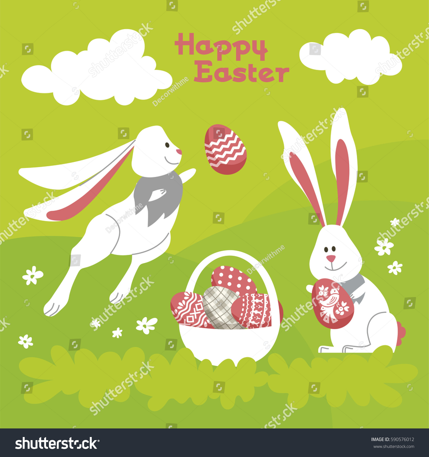 Happy easter modern vector template card stock vector 590576012 happy easter modern vector template card a holiday gift flyer with rabbit egg negle Images
