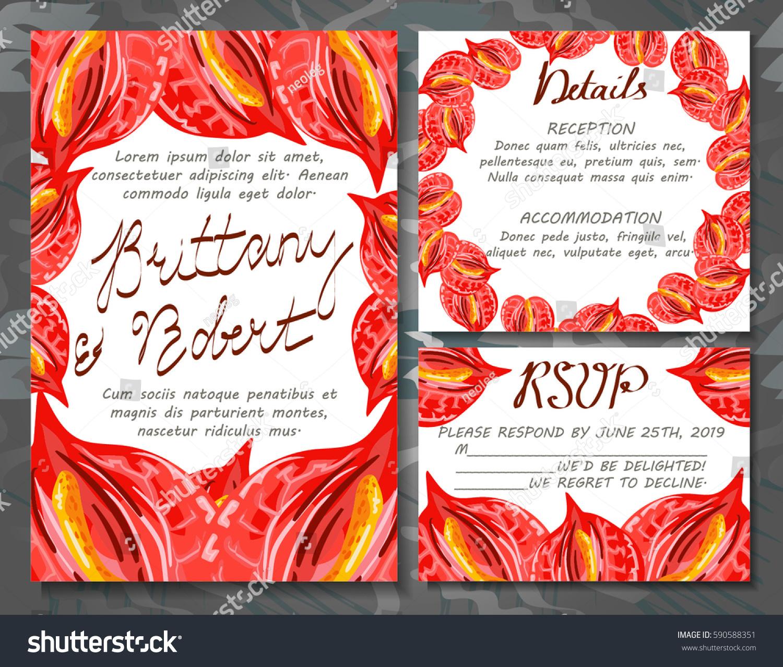 Wedding INVITATION Set Wedding Cards Tropical Stock Vector 590588351 ...