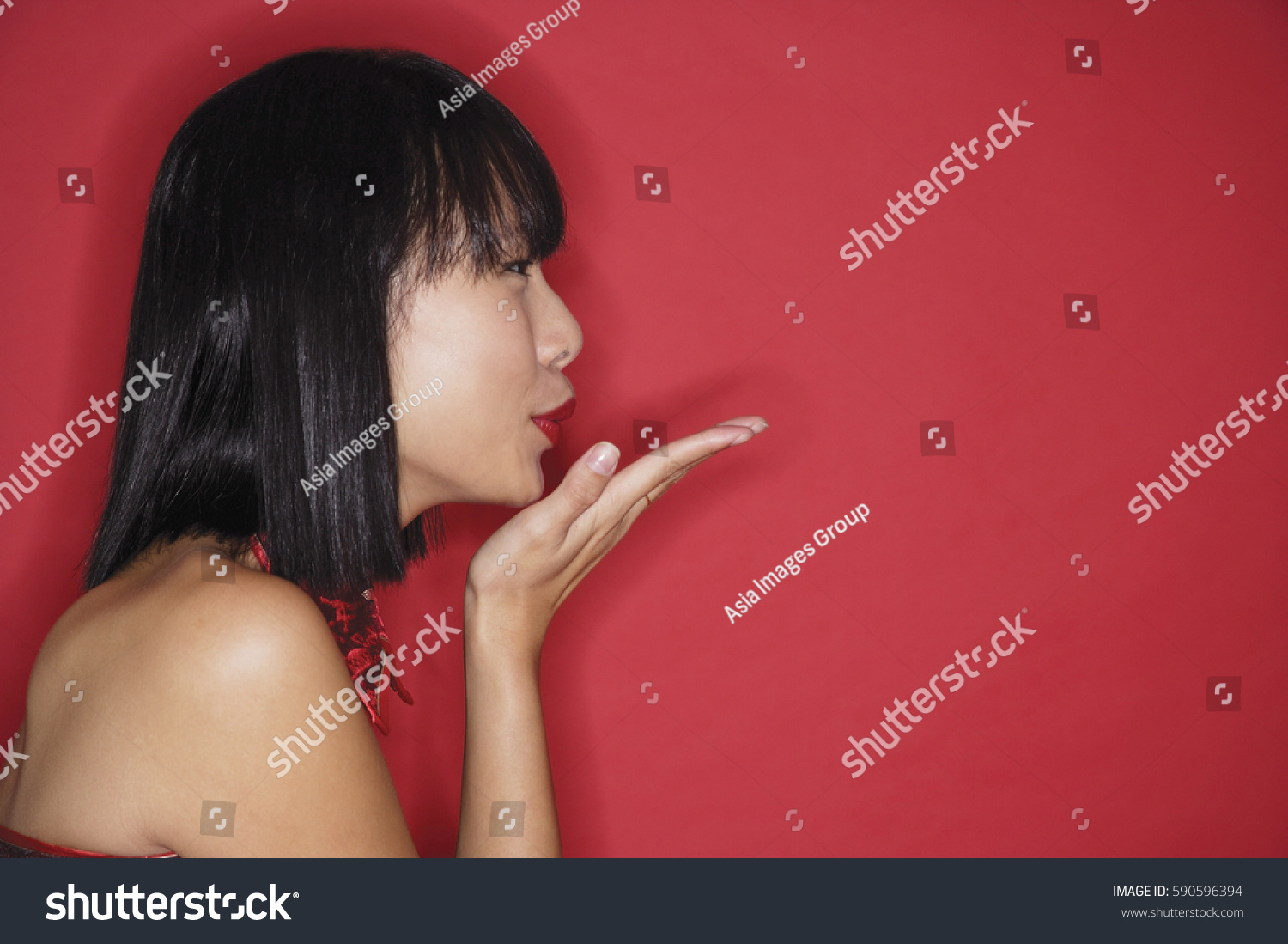 Woman Bob Haircut Blowing Kiss Side Stock Photo (Edit Now