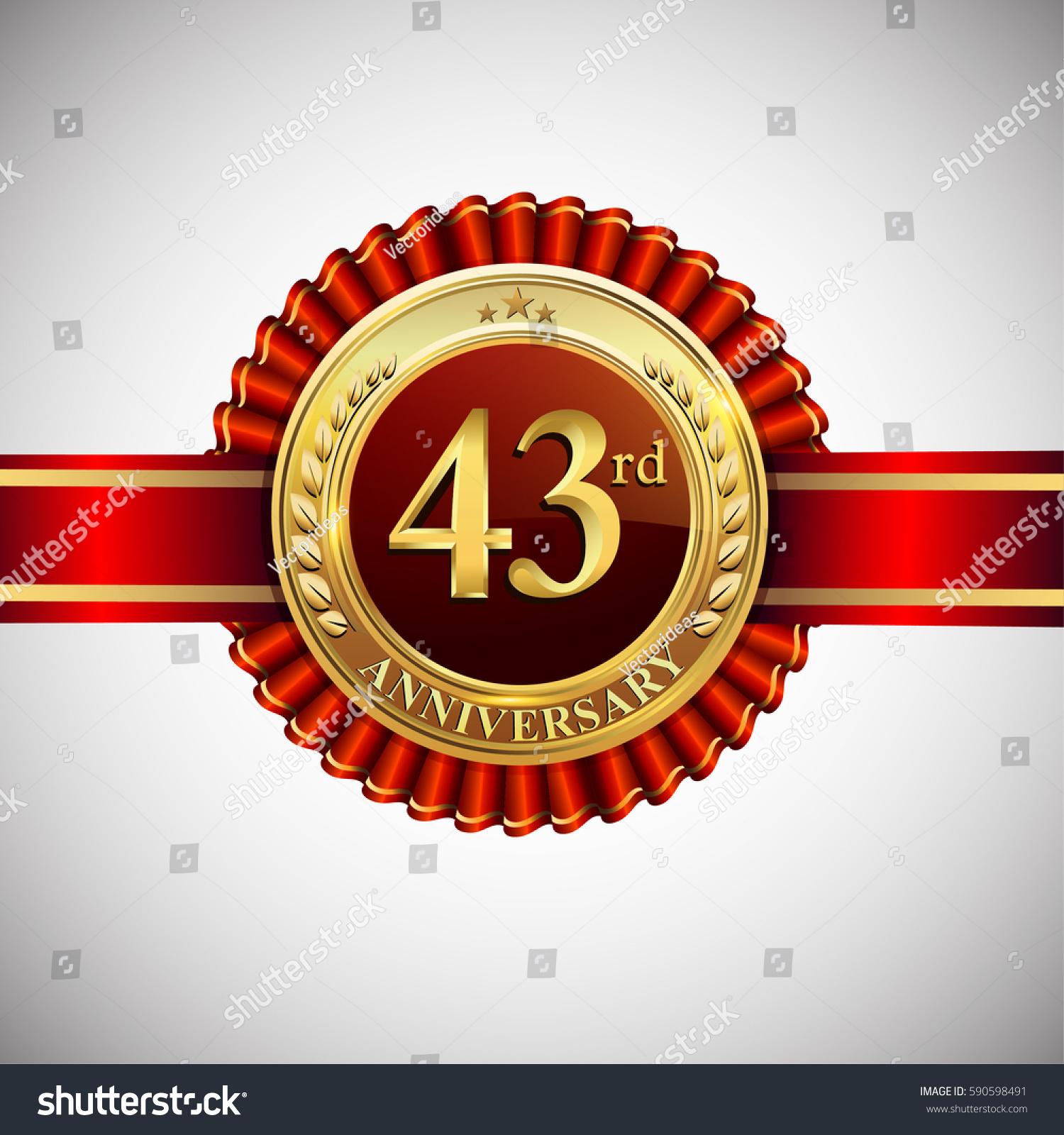 Celebrating 43rd Anniversary Logo Golden Badge Stock Vector Royalty