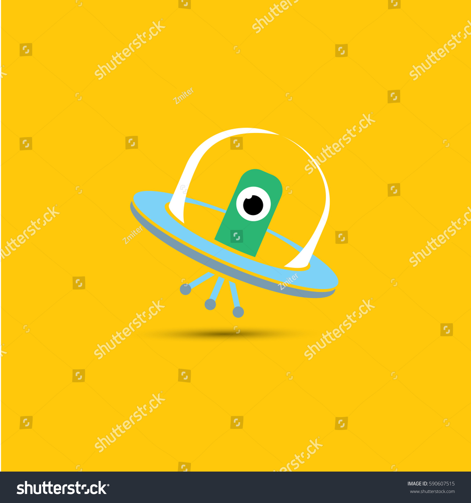 vector flat funny blue alien spaceship stock vector 590607515