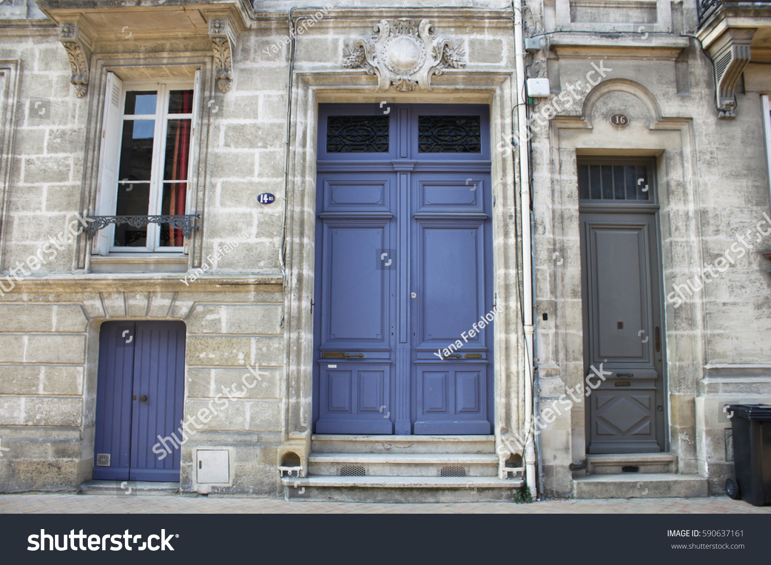 Vintage building facade windows doors old stock photo for W architecture bordeaux